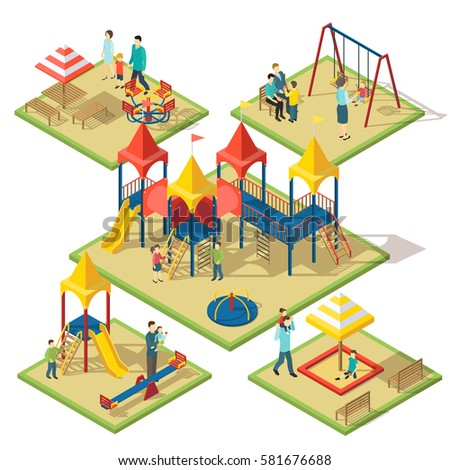 Isometric amusement area composition with people children playground elements and objects isolated vector illustration