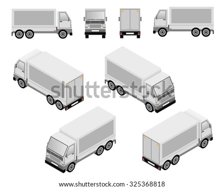 Isometric and plan layout truck vector illustrations showing four views