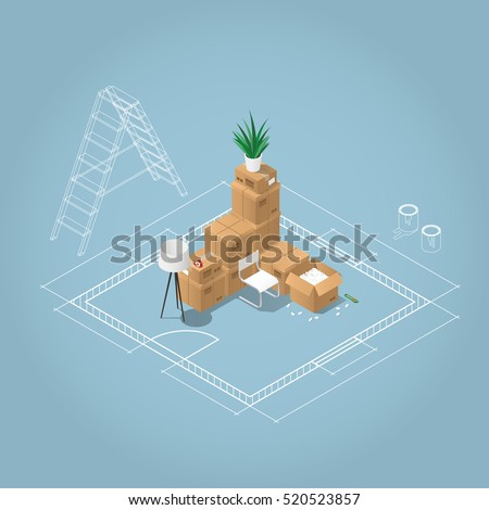 Isometric apartment room renovation concept illustration. Blueprint plan of room with ladder and paint in jars and the bunch of cardboard boxes, home stuffs: lamp, chair, houseplant, tape, open box.