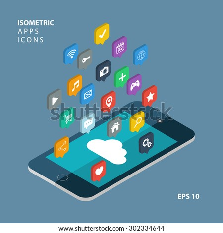 Isometric app icons concept. Cloud computing.