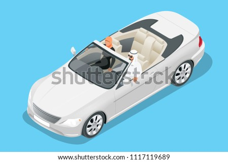 Isometric Arab couple ride in cabriolet car. Traveling by cabriolet car vector illustration