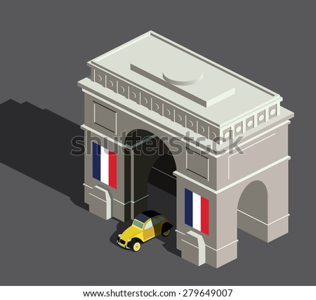 isometric arc de triomphe and