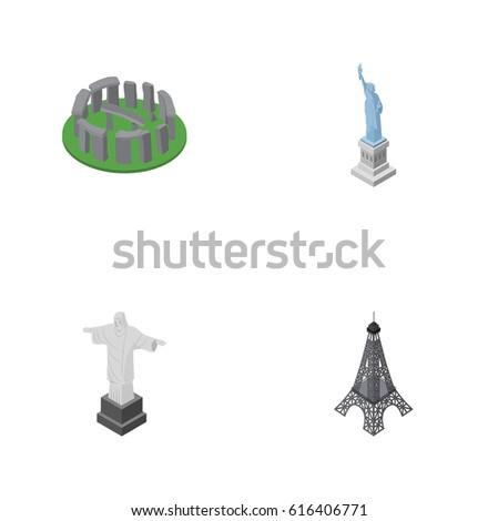 isometric architecture set of...