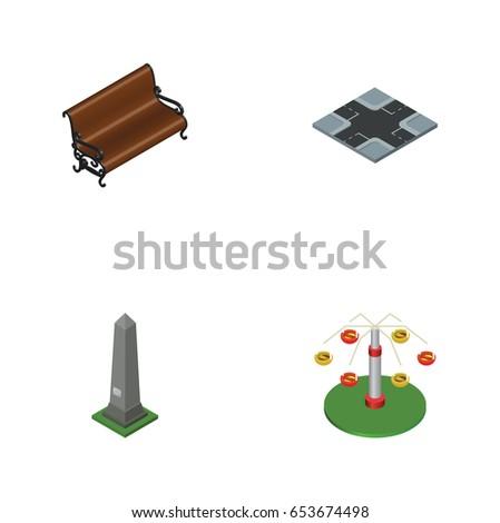 isometric architecture set of