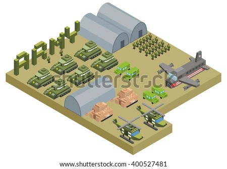isometric army base camp with