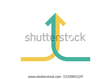 Isometric arrow formed by two merging yellowand green lines on white background. Partnership, merger, alliance and integration concept. Flat design. Vector illustration, no transparency, no gradients