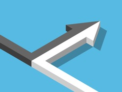 Isometric arrow of two black and white ones merging on blue background. Merger, alliance, partnership and relationship concept. Flat design. Vector illustration, no transparency, no gradients