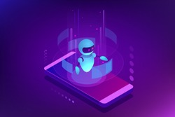 Isometric Artificial Intelligence. Chatbot and future marketing. AI and business IOT concept. Dialog help service. Vector illustration.