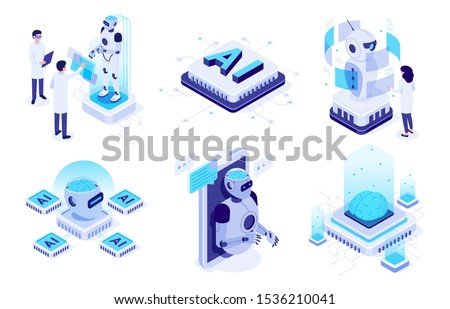 Isometric artificial intelligence. Digital brain neural network, AI servers and robots technology, artificial bot mind and intelligent robotic building. Isolated vector illustration icons set