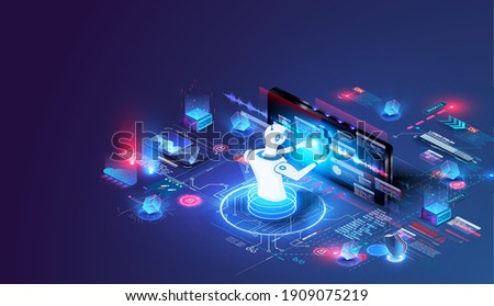 Isometric artificial intelligence. Neuronet or ai technology background with robot head and connections of neurons. Digital brain neural network, AI servers and robot technology. Vector illustration