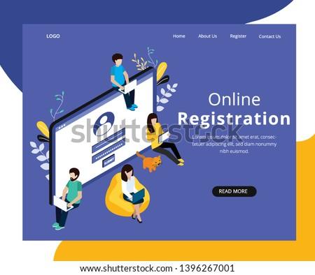 Isometric Artwork Concept of Online Registration Stock photo ©