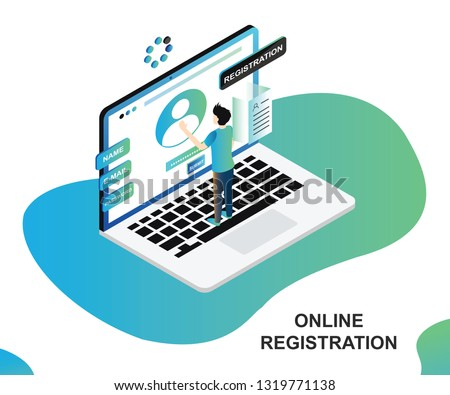 Isometric Artwork Concept of online Registration where a person is registering himself on the website. Stockfoto ©