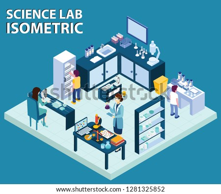 Isometric Artwork Concept of Science lab where scientist are experimenting with chemicals and doing their daily routine, Some people are assisting them in the experiments