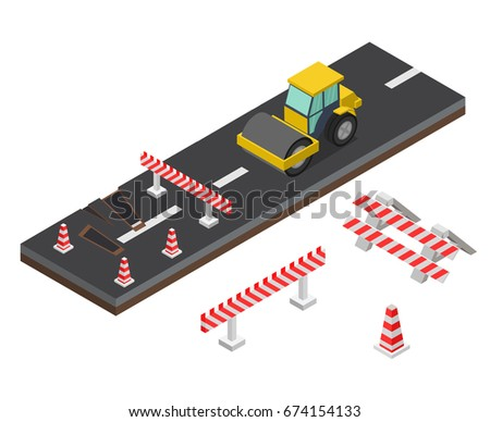 Isometric Asphalt compactor road under construction repair road signs.