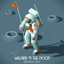 Isometric Astronaut Hitchhiker Guide the Galaxy Vector Illustration Flat 3d Isometric Cosmonaut Flag who Moon Discovers Love Icon. Moon Horizons of the Universe Discovery Planet Astronaut Solar System