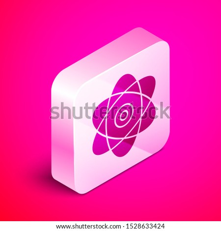Isometric Atom icon isolated on pink background. Symbol of science, education, nuclear physics, scientific research. Electrons and protons sign. Silver square button. Vector Illustration