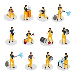 Isometric auto service people set with car painting diagnostic washing and tire changing procedures isolated vector illustration