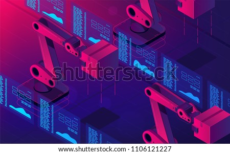 Isometric automated robot arms. Smart automated robotic arms holding box in a warehouse. Modern logistics center in ultra violet colors. Vector 3d isometric illustration ultraviolet background.