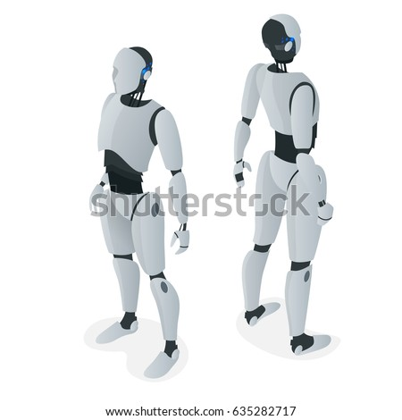 Isometric autonomous Robot. Flat vector Isolated on white illustration. Artificial intelligence