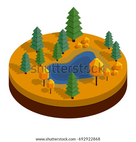 isometric autumn landscape with