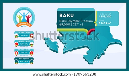 Isometric Azerbaijan country map tagged in Baku stadium which will be held football matches vector illustration. Football 2020 tournament final stage infographic and country info