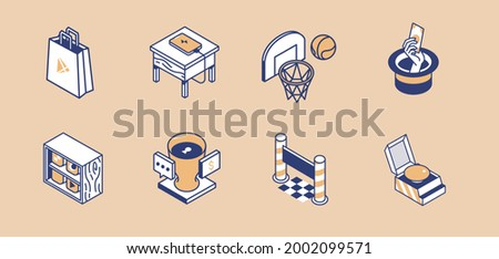 Isometric bag charging phone basketball hoop magic hat library app shelves security cup finish line and yellow button