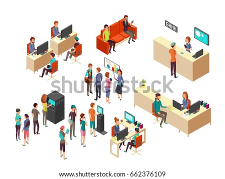 Isometric bank clients and employees for 3d banking services vector concept. Interior bank with client and department service illustration