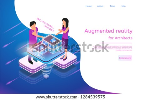 Isometric Banner Augmented Reality for Architects. Vector Illustration Man and Woman Working Architectural Project. Graphic Projection Building Structure City. Technology Future Work and Business