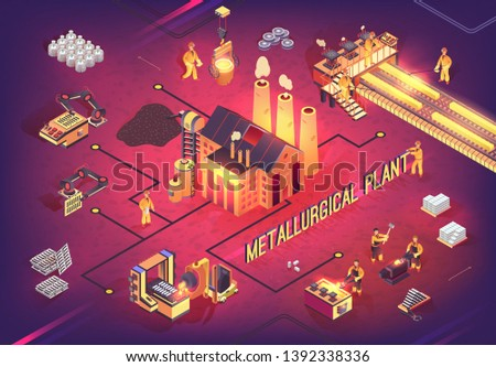 Isometric Banner of Metallurgical Plant at Work. Vector Illustration Steel and Iron Metallurgy Industry Technologies with Robotized Equipment, Manufacturing Conveyor Line and Extractive Machinery
