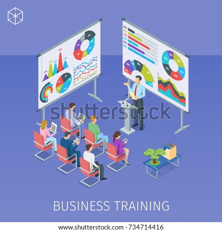 Isometric banner on theme business training. People listen to the lecturer. Highly detailed illustration