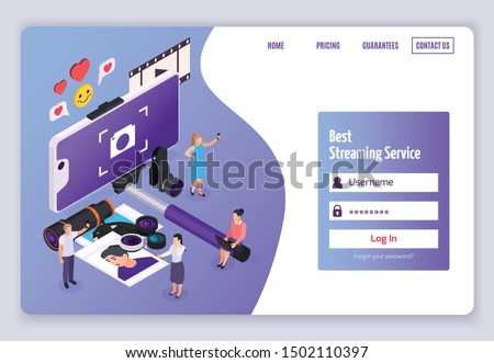 Isometric banner with people taking photos tools for mobile phone and form for login and password 3d vector illustration Foto d'archivio ©