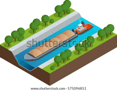 isometric barge on a river