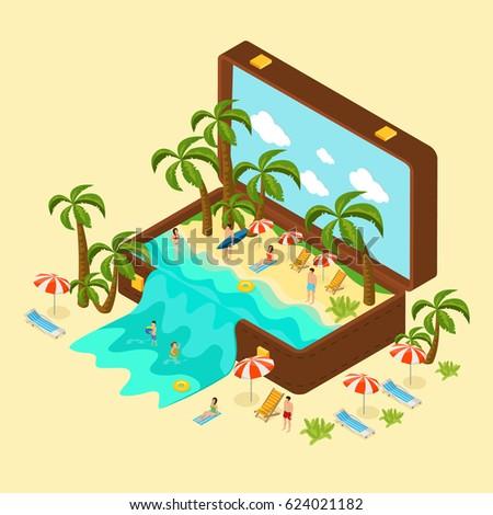 isometric beach vacation