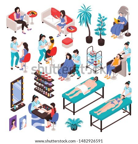 Isometric beauty cosmetology hairdress manicure salon set with isolated images of furniture cosmetic products and people vector illustration