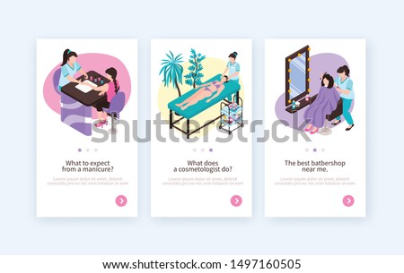 Isometric beauty cosmetology hairdress manicure salon vertical banners set with page switch buttons text and images vector illustration