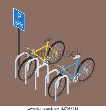isometric bicycle parking flat