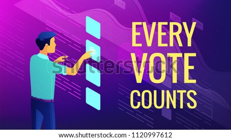Isometric big data analysis, feedback and voting concept. A man in front of virtual interface with visual data elements and title every vote counts in violet color. Vector ultraviolet background.