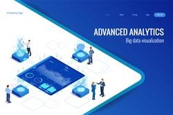 Isometric Big Data Network visualization, advanced analytics, interacting Data analysis, research, audit, demographics, Artificial Intelligence, planning, statistics, digital DNA structure, management