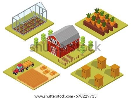 Isometric Big set infographics vector farm elements and ecology cartoon gardening background