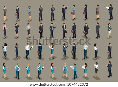 Isometric big set of business men, business women and bank managers of different races and nationalities. Development of international business, conferences.