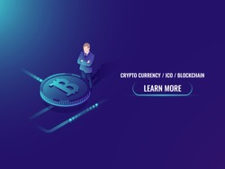 Isometric bitcoin investment and mining, cryptocurrency buy web page vector illustration