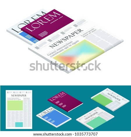 Isometric blank newspaper and magazines. Business and finance. Newspaper journal design template. Vector illustration - Shutterstock ID 1035773707
