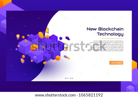 Isometric blockchain concept banner. Modern Concept of Digital Technology in the Shape of Block Chain. Vector Illustration.