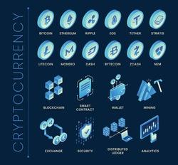 Isometric blockchain & cryptocurrency icons set
