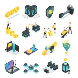 Isometric blockchain. Safe global network, income cryptocurrency bitcoin tokens startup ico currency income, mining people, coin finance currency vector isolated icon collection