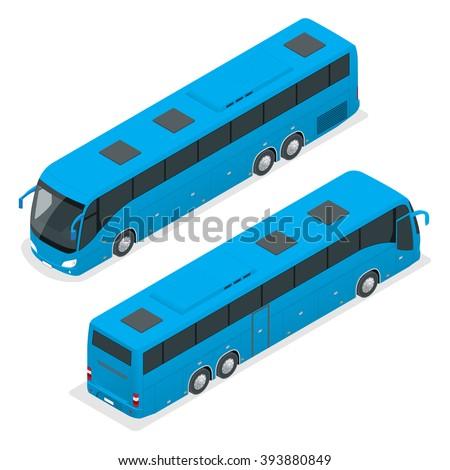 Isometric blue bus. Road vehicle designed to carry many passengers.