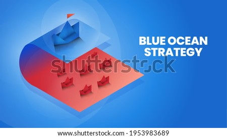 Isometric blue ocean strategy is comparison 2 market; red ocean and blue ocean market and customer for marketing analysis and plan. The origami presentation metaphor pioneer market has no competition  Foto stock ©