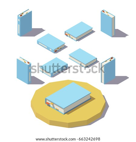 Isometric book from different angles isolated on white background. Vector low poly illustration.