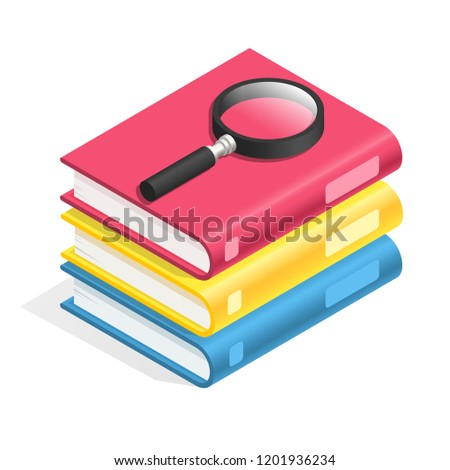 Isometric book icon. Stack of books, textbook pile. Academic reading, wisdom dictionary glossary and school education textbooks, fiction or paper office equipment 3d vector symbol