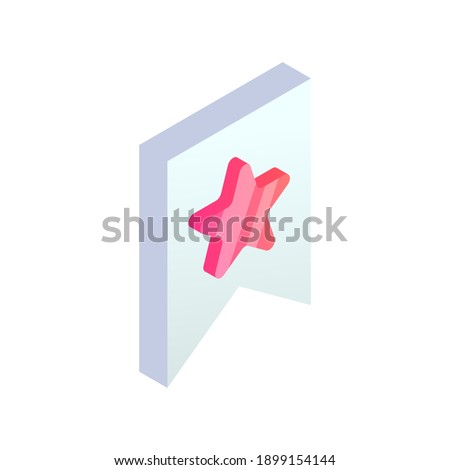 Isometric bookmark icon. Favorite 3d symbol with star isolated on white background. Trendy symbol for Web, Mobile, apps. Vector illustration